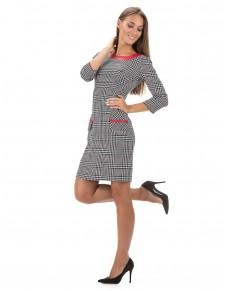 556/15 sukienka ołówkowa w kratkę z czerwoną skórką