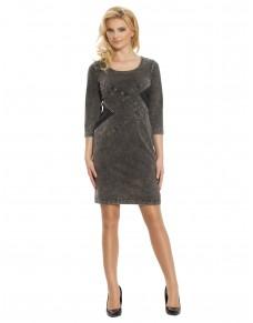 Sukienka elegancka jeansowa z pikowanymi wstawkami 558/15