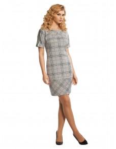 Casualowa sukienka z dzianiny z wstawkami ze srebrnej skórki 582/15