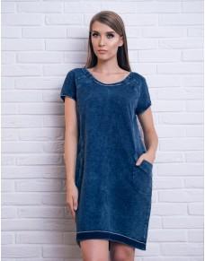 Luźna, bawełniana sukienka w kolorze jeansu