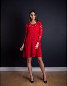 Wizytowa sukienka z czerwonej koronki