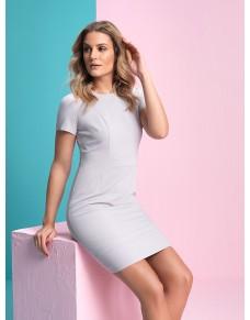 Szara, ołówkowa sukienka do pracy