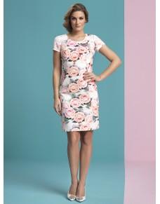 Ołówkowa, klasyczna sukienka w kwiaty