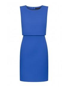 Elegancka sukienka w kolorze kobaltowym z ozdobnym dekoltem