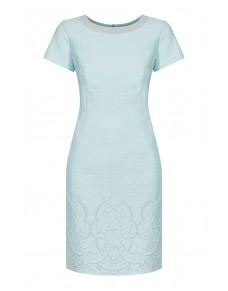Sukienka wizytowa z żakardu ze srebrną aplikacją