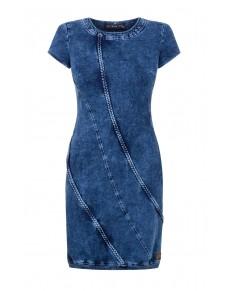 Niebieska, obcisła sukienka dżinsowa z warkoczami