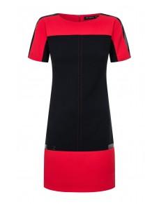Sukienka Prosta, Ołówkowa, Czarno-Czerwona, na co dzień