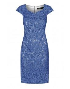 Sukienka Koronkowa w Kolorze Granatowym