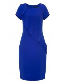 Kobaltowa, Delikatna, Elegancka Sukienka z Asymetryczną Falbaną