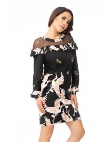 sukienka z tiulem w dekolcie