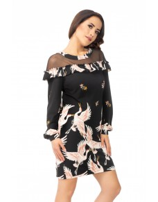 Sukienka z Tiulem w Dekolcie Drukowana, Koktajlowa, Czarna