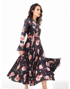 Gerbera Długa Plisowana Sukienka Romantyczna