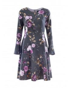 Elegancka Sukienka Rozkloszowana, Ciepła, Wiskozowa, Liliowy Kwiat