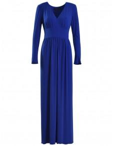 Maxi Sukienka Kobaltowa z Długim Pęknięciem